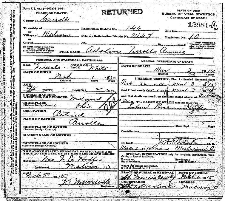documents: perolla, adaline - death certificate, ohio, 1915: wm. l
